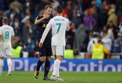 Harry Kane of Tottenham Hotspur shakes hands with Cristiano Ronaldo of Real Madrid at full time