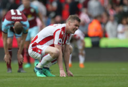 Stoke City's Ryan Shawcross shows dejection at the final whistle