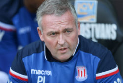 Stoke City manager Paul Lambert at the start of the match