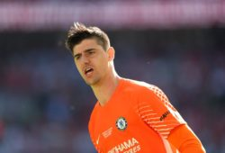 Chelsea goalkeeper Thibaut Courtois celebrates penalty