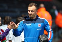 13th May 2018, Liberty Stadium, Swansea, Wales; EPL Premier League football, Swansea City versus Stoke City; Xherdan Shaqiri of Stoke City arrives ahead of the game PUBLICATIONxINxGERxSUIxAUTxHUNxSWExNORxDENxFINxONLY ActionPlus12024329