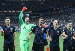 MOSPlayers of the Croatian team celebrate winning their 2018 FIFA World Cup WM Weltmeisterschaft Fussball semi-final match against England with a 2-1 score at Luzhniki Stadium. PUBLICATIONxNOTxINxRUS
