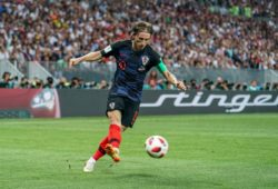 11th July 2018, Luzhniki Stadium, Moscow, Russia; FIFA World Cup WM Weltmeisterschaft Fussball Football, semi final, Croatia versus England; Luka Modric of Croatia passes the ball across the box PUBLICATIONxINxGERxSUIxAUTxHUNxSWExNORxDENxFINxONLY ActionPlus12046658 UlrikxPedersen