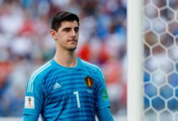 Sankt Petersburg, Russland, 14.07.2018, FIFA Weltmeisterschaft, Spiel um Platz 3, Belgien - England, Torwart Thibaut Courtois (BEL) schaut ( DeFodi507 *** Saint Petersburg Russia 14 07 2018 FIFA World Cup match for 3rd place Belgium England Goalkeeper Thibaut Courtois BEL is watching DeFodi507