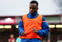Saido Berahino of Stoke City warms up.