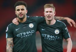 Manchester City player Kevin De Bruyne and Kyle Walker during the Premier League Match between Stoke City and Manchester City at Bet365 Stadium, Stoke on March 12th