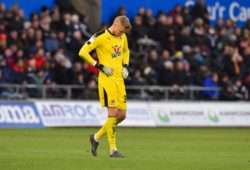 Anssi Jaakkola (31) of Reading looking dejected during the EFL Sky Bet Championship match between Swansea City and Reading at the Liberty Stadium, Swansea
