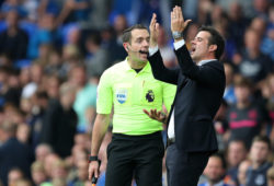 Everton manager Marco Silva reacts to assistant referee Eddie Smart after a decision by referee Stuart Atwell