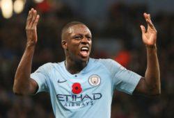 Benjamin Mendy of Manchester City  celebrates towards the City Fans