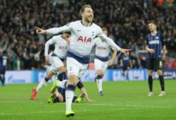 (181129) -- LONDON, Nov. 29, 2018 (Xinhua) -- Tottenham Hotspur s Christian Eriksen celebrates scoring during the UEFA Champions League Group B match between Tottenham Hotspur and Inter Milan at Wembley Stadium in London, Britain on Nov. 28, 2018. Tottenham Hotspur won 1-0. (Xinhua/Tim Ireland) FOR EDITORIAL USE ONLY. NOT FOR SALE FOR MARKETING OR ADVERTISING CAMPAIGNS. NO USE WITH UNAUTHORIZED AUDIO, VIDEO, DATA, FIXTURE LISTS, CLUB/LEAGUE LOGOS OR LIVE SERVICES. ONLINE IN-MATCH USE LIMITED TO 45 IMAGES, NO VIDEO EMULATION. NO USE IN BETTING, GAMES OR SINGLE CLUB/LEAGUE/PLAYER PUBLICATIONS. (SP)BRITAIN-LONDON-FOOTBALL-UEFA CHAMPIONS LEAGUE-HOTSPUR VS INTER MILAN PUBLICATIONxNOTxINxCHN