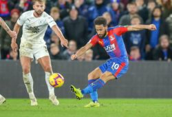 Crystal Palace midfielder Andros Townsend (10) shoots towards the goal during the Premier League match between Crystal Palace and Burnley at Selhurst Park, London