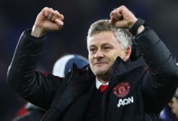 Manchester United interim manager Ole Gunnar Solskjaer celebrates at full time