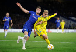 Gary Cahill of Chelsea and Jasse Tuominen of FC BATE Borisov in action during the UEFA Europa League group stage match between Chelsea and FC BATE Borisov at Stamford Bridge in London, UK - 4th October 2018