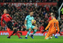 Manchester United ManU s David de Gea saves a shot from Pierre-Emerick Aubameyang of Arsenal during the Premier League match at Old Trafford, Manchester. Picture date: 5th December 2018. Picture credit should read: Matt McNulty/Sportimage PUBLICATIONxNOTxINxUK SPI_93_MM_MANU_ARSE.JPG