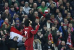 Mohamed Salah of Liverpool celebrates scoring the first goal during the UEFA Champions League Group C match at Anfield Stadium, Liverpool. Picture date 11th December 2018. Picture credit should read: Andrew Yates/Sportimage PUBLICATIONxNOTxINxUK _AY20353.JPG
