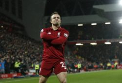Xherdan Shaqiri of Liverpool celebrate scoring the second goal during the Premier League match at Anfield Stadium, Liverpool. Picture date: 16th December 2018. Picture credit should read: Andrew Yates/Sportimage PUBLICATIONxNOTxINxUK _AY10183.JPG