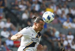 4.07773466 October 28, 2018 LA Galaxy forward Zlatan Ibrahimovic (9) heads the ball during the MLS game between the LA Galaxy and the Houston Dynamo at the Stub Hub Center in Carson, California. Charles Baus/(Photo by Charles Baus/CSM/Sipa USA)  IBL