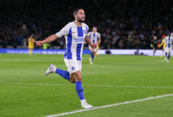 4.07845815 Brighton and Hove Albion striker Florin Andone (10) celebrates his goal 3-0 during the English championship Premier League football match between Brighton and Hove Albion and Crystal Palace on December 4, 2018 at the American Express Community Stadium in Brighton and Hove, England - Photo Phil Duncan / ProSportsImages / DPPI  IBL