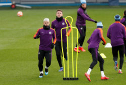 Soccer Football - Champions League - Manchester City Training - Etihad Campus, Manchester, Britain - February 19, 2019   Manchester City's Sergio Aguero and Aymeric Laporte with team mates during training   Action Images via Reuters/Lee Smith