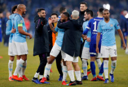 Soccer Football - Champions League - Round of 16 First Leg - Schalke 04 v Manchester City - Veltins-Arena, Gelsenkirchen, Germany - February 20, 2019  Manchester City's Raheem Sterling celebrates with Sergio Aguero and team mates at the end of the match   Action Images via Reuters/Matthew Childs