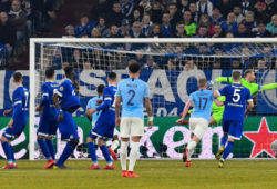 Fußball Champions League Achtelfinale FC Schalke 04 - Manchester City am 20.02.2019 in der Veltins Arena in Gelsenkirchen Tor zum 2:2 durch Leroy Sane ( Manchester ) DFL Regulations prohibit any use of photographs as image sequences and/or quasi video. *** Football Champions League Round of 16 FC Schalke 04 Manchester City on 20 02 2019 at the Veltins Arena in Gelsenkirchen Goal to 2 2 by Leroy Sane Manchester DFL Regulations prohibit any use of photographs as image sequences and or quasi video xMNx