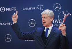 ??????????2019?2?19?     ????2019??????????????????     2?18????????????????22???????????????     ???2019????????????????????????????     ?????????  SP-MONACO-WORLD SPORTS AWARDS-UNVEIL Lifetime Achievement Award winner Arsene Wenger shows the trophy after the 2019 Laureus World Sports Awards ceremony in Monaco, Feb. 18, 2019. The 2019 Laureus World Sports Awards were unveiled in Monaco on Monday.  (Xinhua/Zheng Huansong) (Photo by Xinhua/Sipa USA)