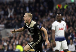 Ajax's Donny van de Beek celebrates after scoring his side's opening goal during the Champions League semifinal first leg soccer match between Tottenham Hotspur and Ajax at the Tottenham Hotspur stadium in London, Tuesday, April 30, 2019. (AP Photo/Kirsty Wigglesworth)