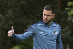 Chelsea's Eden Hazard during a training session at Cobham Training Ground outside London, Wednesday May 1, 2019. Chelsea will play Eintracht in a Europa League Semi-final first leg match on Thursday. (Steven Paston/PA via AP)