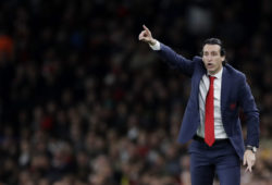 Arsenal manager Unai Emery gestures during the Europa League semifinal first leg soccer match between Arsenal and Valencia at the Emirates stadium in London, Thursday, May 2, 2019. (AP Photo/Kirsty Wigglesworth)