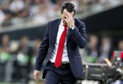 Arsenal manager Unai Emery reacts during the Europa League Final soccer match between Chelsea and Arsenal at the Olympic stadium in Baku, Azerbaijan, Thursday, May 30, 2019. (AP Photo/Darko Bandic)