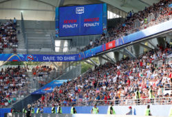 Soccer Football - Women's World Cup - Round of 16 - Spain v United States - Stade Auguste-Delaune, Reims, France - June 24, 2019 The big screen displays a VAR review message   REUTERS/Bernadett Szabo  X02784