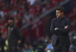 Tottenham's coach Mauricio Pochettino watches the Champions League final soccer match between Tottenham Hotspur and Liverpool at the Wanda Metropolitano Stadium in Madrid, Saturday, June 1, 2019. (AP Photo/Francisco Seco)