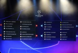 The screen shows the teams of UEFA Champions League group stage draw at the Grimaldi Forum, in Monaco, Thursday, Aug. 29, 2019. (AP Photo/Daniel Cole)  XTS139