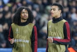 EDITORIAL USE ONLY MANDATORY CREDIT: PHOTO BY PHIL DUNCAN/PROSPORTS/REX/SHUTTERSTOCK (10143912CI) MANCHESTER UNITED FORWARD TAHITH CHONG AND MANCHESTER UNITED FORWARD MASON GREENWOOD WARM UP AS SUBSTITUTES DURING THE CHAMPIONS LEAGUE ROUND OF 16 2ND LEG MATCH BETWEEN PARIS SAINT-GERMAIN AND MANCHESTER UNITED AT PARC DES PRINCES, PARIS PARIS SAINT-GERMAIN V MANCHESTER UNITED, CHAMPIONS LEAGUE - 06 MAR 2019