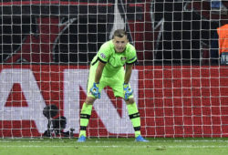 Leverkusen's goalkeeper Lukas Hradecky stands in his goal after he received the second goal during the Champions League Group D soccer match between Bayer Leverkusen and Lokomotiv Moscow at the BayArena in Leverkusen, Germany, Wednesday Sept. 18, 2019. (AP Photo/Martin Meissner)  mme113