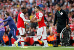 """Soccer Football - Premier League - Arsenal v Tottenham Hotspur - Emirates Stadium, London, Britain - September 1, 2019  Arsenal's Henrikh Mkhitaryan comes on as a substitute to replace Alexandre Lacazette   REUTERS/David Klein  EDITORIAL USE ONLY. No use with unauthorized audio, video, data, fixture lists, club/league logos or """"live"""" services. Online in-match use limited to 75 images, no video emulation. No use in betting, games or single club/league/player publications.  Please contact your account representative for further details.  X06540"""