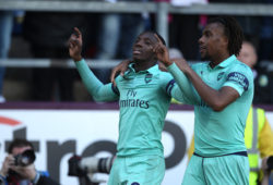 May 12, 2019 - Burnley, England, United Kingdom - Edward Nketiah of Arsenal celebrates with Alex Iwobi after scoring their third goal during the Premier League match between Burnley and Arsenal at Turf Moor, Burnley on Sunday 12th May 2019.