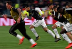 Mario Mandzukic and Emre Can of Juventus warm up ahead the Uefa Champions League 2018/2019 round of 16 second leg football match between Juventus and Atletico Madrid at Juventus stadium, Turin, March, 12, 2019 Foto Andrea Staccioli / Insidefoto PUBLICATIONxNOTxINxITA andreaxstaccioli