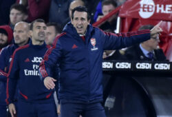 Arsenal's head coach Unai Emery gives instructions during the English Premier League soccer match between Sheffield United and Arsenal at Bramall Lane in Sheffield, England, Monday, Oct. 21, 2019. (AP Photo/Rui Vieira)  XEL133