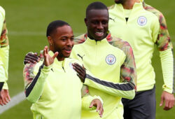 Soccer Football - Champions League - Manchester City Training - Etihad Campus, Manchester, Britain - October 21, 2019   Manchester City's Raheem Sterling and Benjamin Mendy during training   Action Images via Reuters/Jason Cairnduff  X03805