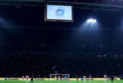 Soccer Football - Champions League - Group H - Ajax Amsterdam v Chelsea - Johan Cruijff Arena, Amsterdam, Netherlands - October 23, 2019     General view as the scoreboard displays the VAR decision to disallow a goal scored by Ajax's Quincy Promes   Action Images via Reuters/Lee Smith  X03806