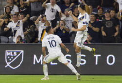 Oct 24, 2019; Los Angeles, CA, USA; Los Angeles Galaxy forward Zlatan Ibrahimovic (9) celebrates his goal against the Los Angeles FC during the second half at Banc of California Stadium. Mandatory Credit: Kelvin Kuo-USA TODAY Sports/Sipa USA