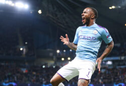 Editorial Use Only Mandatory Credit: Photo by Paul Currie/BPI/Shutterstock (10451813bm) Raheem Sterling of Manchester City celebrates scoring the 5th goal and his hat trick Manchester City v  Atalanta, UEFA Champions League, Group C, Football, Etihad Stadium, UK - 22 Oct 2019