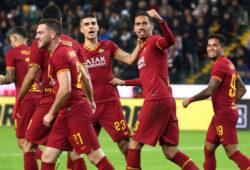 Chris Smalling of AS Roma celebrates with team mates after scoring the goal of 0-2  Udine 30-10-2019 Stadio Friuli  Football 2019/2020 Serie A  Udinese - AS Roma  Photo Gino Mancini/Insidefoto /Sipa USA