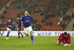 Leicester's Jamie Vardy celebrates scoring his side's ninth goal during the English Premier League soccer match between Southampton and Leicester City at St Mary's stadium in Southampton, England Friday, Oct., 25, 2019. (AP Photo/Alastair Grant)  TH192