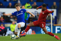 3rd March 2019, Goodison Park, Liverpool, England; EPL Premier League Football, Everton versus Liverpool; Seamus Coleman of Everton is tackled by Georginio Wijnaldum of Liverpool PUBLICATIONxINxGERxSUIxAUTxHUNxSWExNORxDENxFINxONLY ActionPlus12110592 DavidxBlunsden