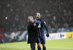 Zlatan Ibrahimovic of PSG talks to Paris Saint Germain coach Carlo Ancelotti as he leaves the pitch during the French Cup match between Paris Saint-Germain FC and Marseille Olympic OM at Parc des Princes on February 27, 2013 in Paris, France. PUBLICATIONxNOTxINxFRA IP3CMOR13022701  Zlatan Ibrahimovic of PSG Talks to Paris Saint Germain Coach Carlo Ancelotti AS He leaves The Pitch during The French Cup Match between Paris Saint Germain FC and Marseille Olympic OM AT Parc the Princes ON February 27 2013 in Paris France PUBLICATIONxNOTxINxFRA