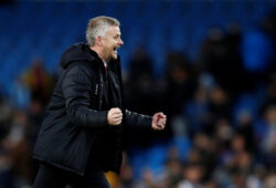 """Soccer Football - Premier League - Manchester City v Manchester United - Etihad Stadium, Manchester, Britain - December 7, 2019  Manchester United manager Ole Gunnar Solskjaer celebrates after the match           Action Images via Reuters/Jason Cairnduff  EDITORIAL USE ONLY. No use with unauthorized audio, video, data, fixture lists, club/league logos or """"live"""" services. Online in-match use limited to 75 images, no video emulation. No use in betting, games or single club/league/player publications.  Please contact your account representative for further details.  X03805"""