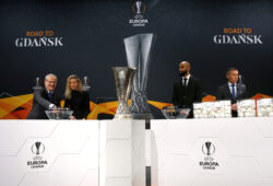 Soccer Football - Europa League - Round of 32 draw - Nyon, Switzerland - December 16, 2019   UEFA General Secretary and Director of Football Giorgio Marchetti, Josephine Henning, Frederic Kanoute and UEFA Head of Club Competitions Michael Heselschwerdt during the draw   REUTERS/Denis Balibouse  X90072
