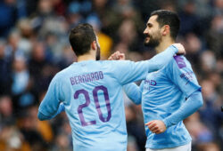 Soccer Football -  FA Cup Fourth Round - Manchester City v Fulham - Etihad Stadium, Manchester, Britain - January 26, 2020  Manchester City's Ilkay Gundogan celebrates scoring their first goal with teammate Bernardo Silva   Action Images via Reuters/Jason Cairnduff  X03805